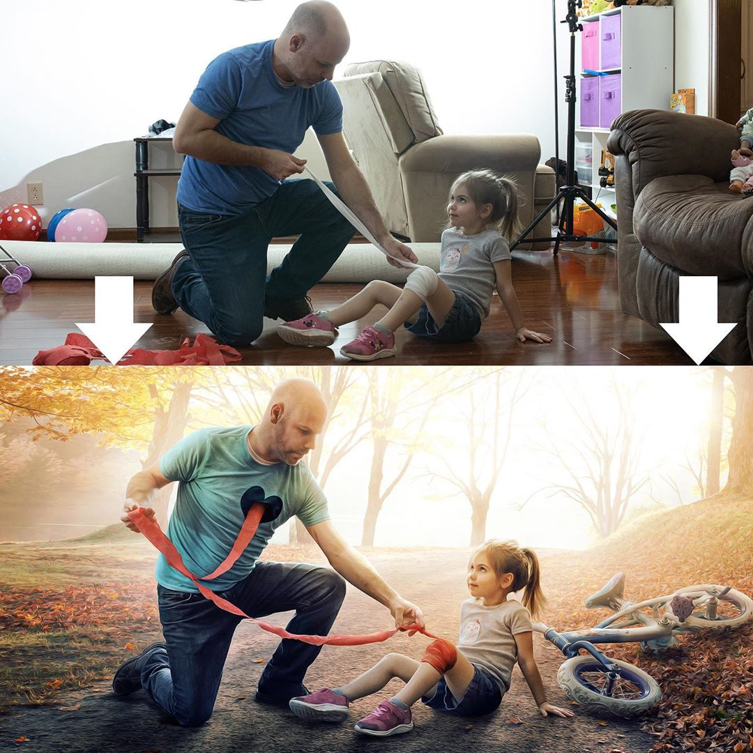 photo manipulation daughter father by kevin carden