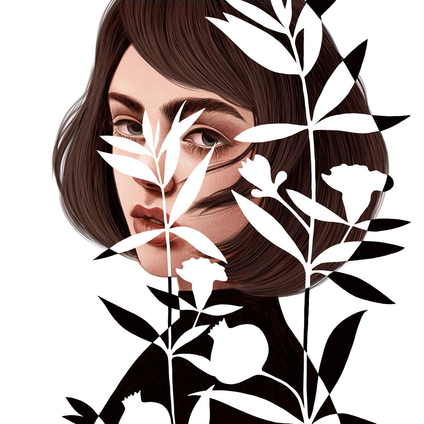 digital illustration woman portrait