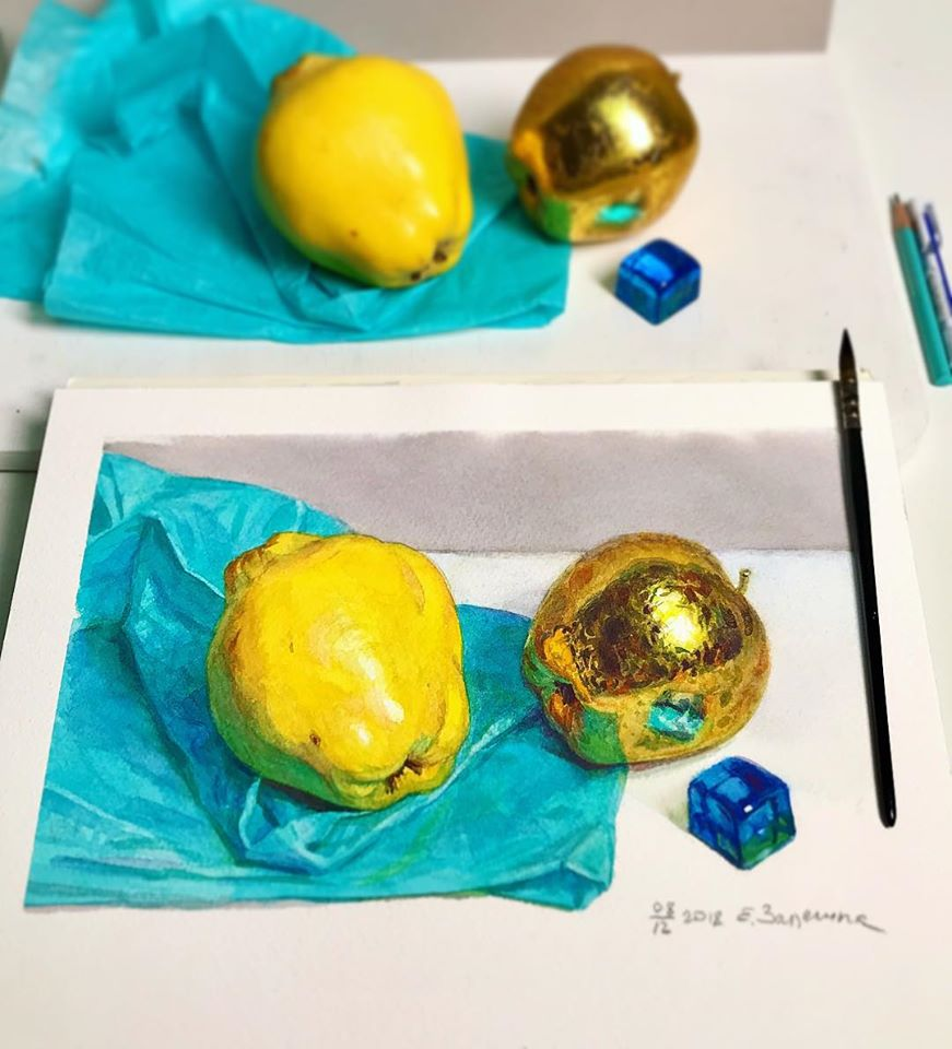 hyper realistic painting fruit