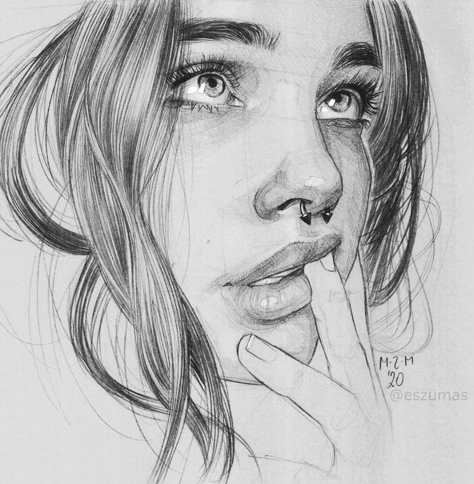 portrait pencil drawing woman