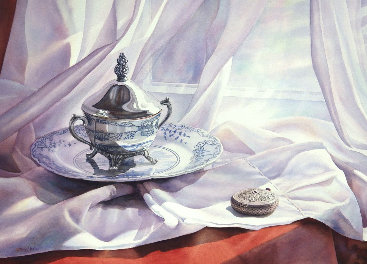 still life watercolor painting silver cup