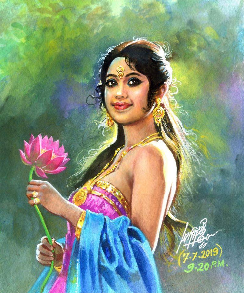 tamilnadu paintings woman