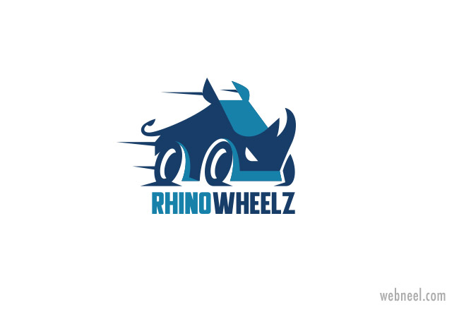 car logo design rhino wheelz by kreatank
