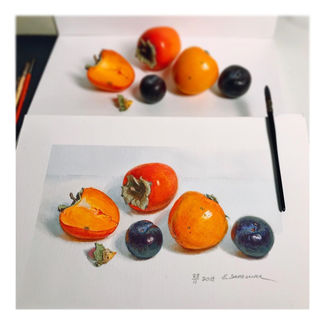 hyper realistic painting fruits