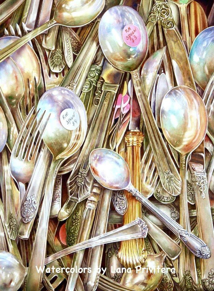 still life watercolor painting spoons by lana matich privitera