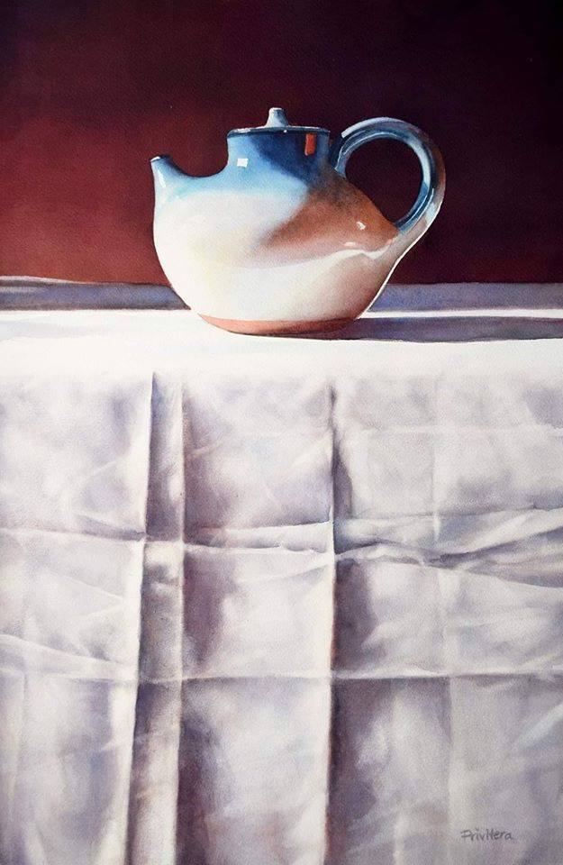 still life watercolor painting blue kettle by lana matich privitera