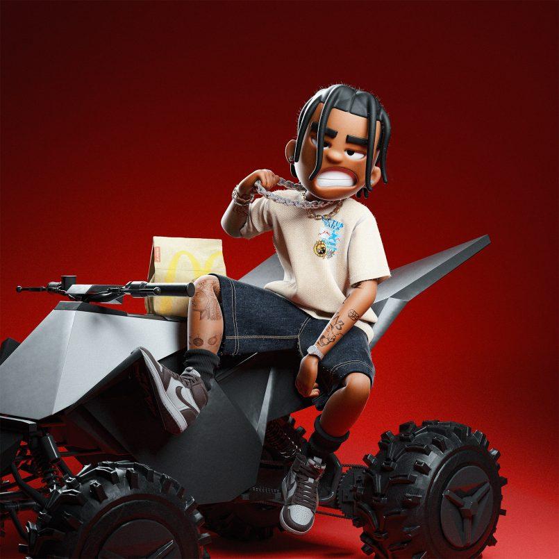3d model boy on truck