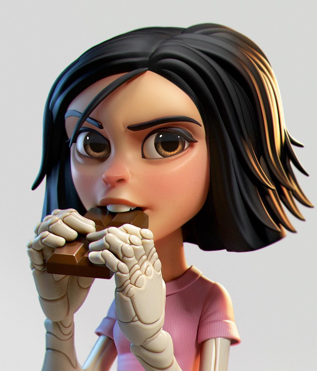 funny 3d model character alita