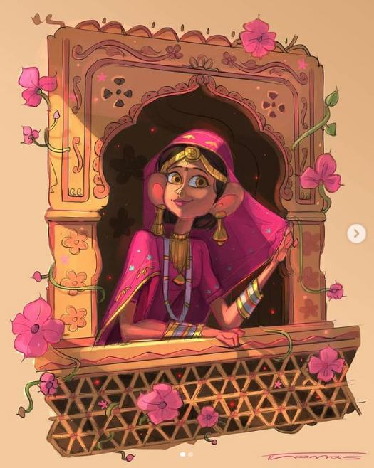 indian digital illustration rajasthani woman