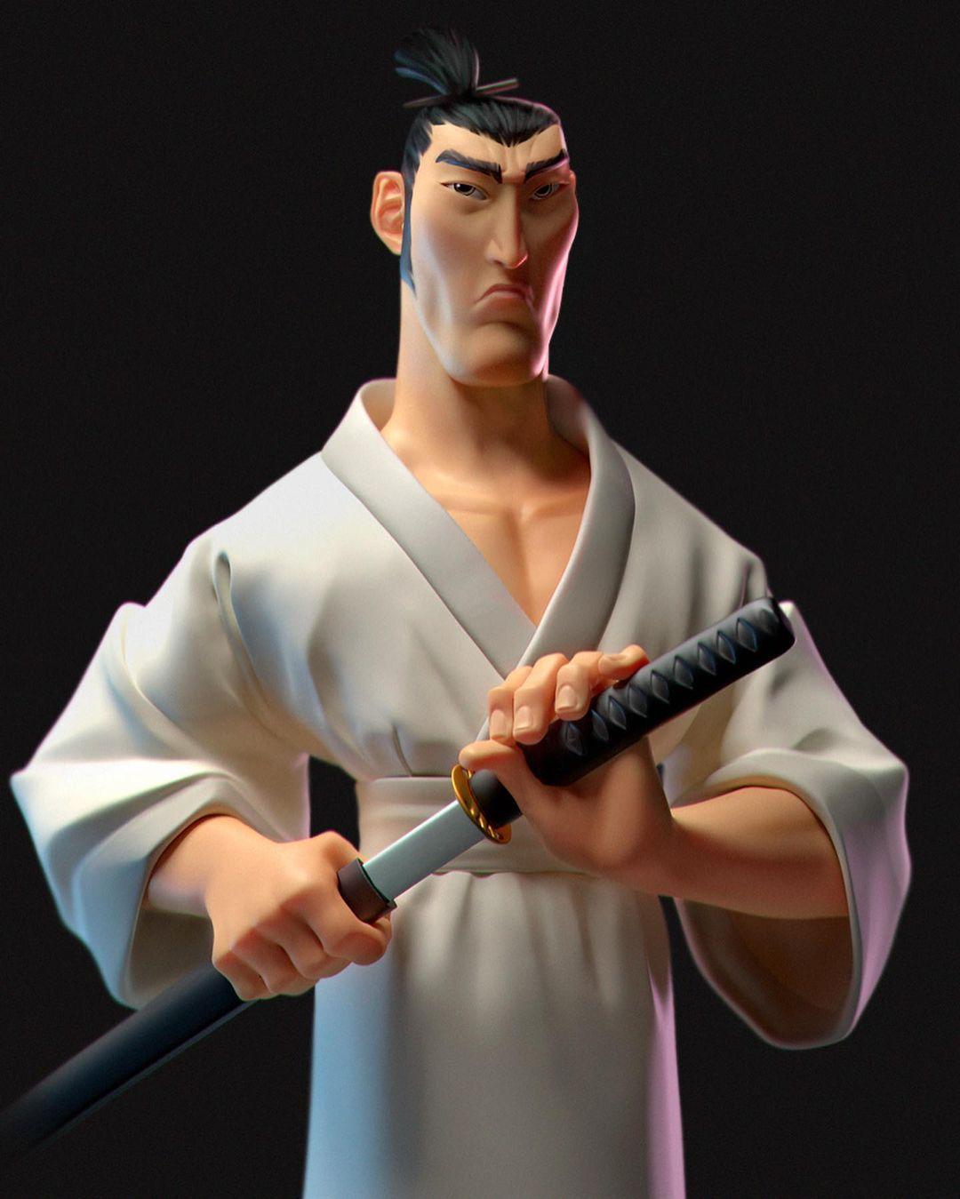 funny 3d model character samurai jack by gabriel soares