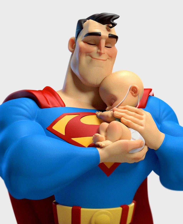 funny 3d model character superman