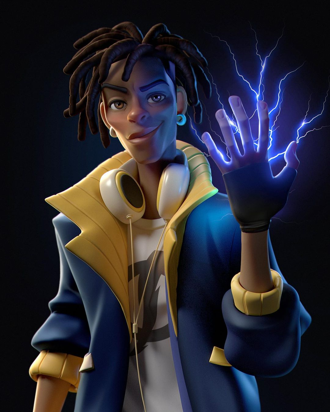 funny 3d model character static shock by gabriel soares