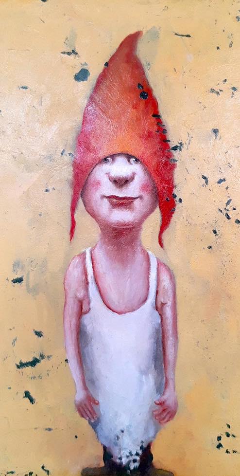 crazy oil painting red hat by koos ten kate