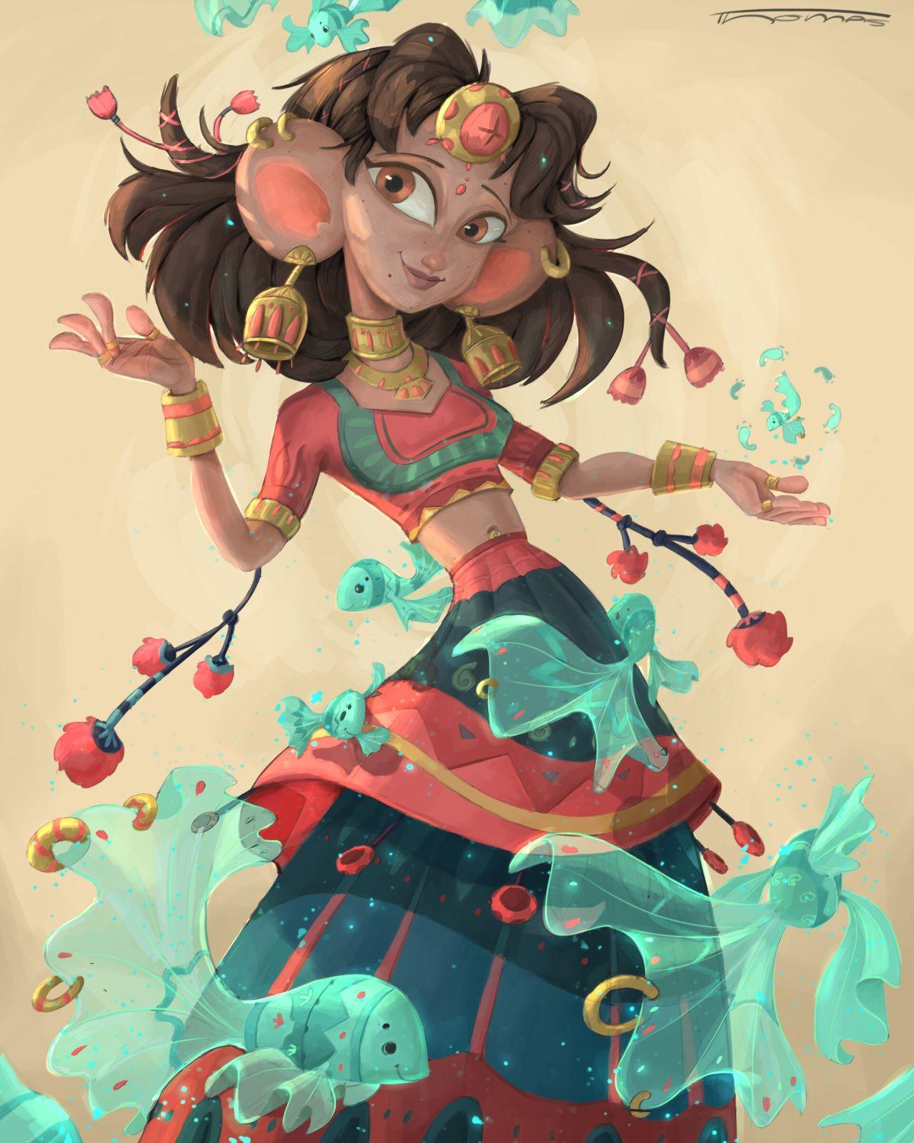 digital illustration rajasthani girl dancing by thomas fernandes
