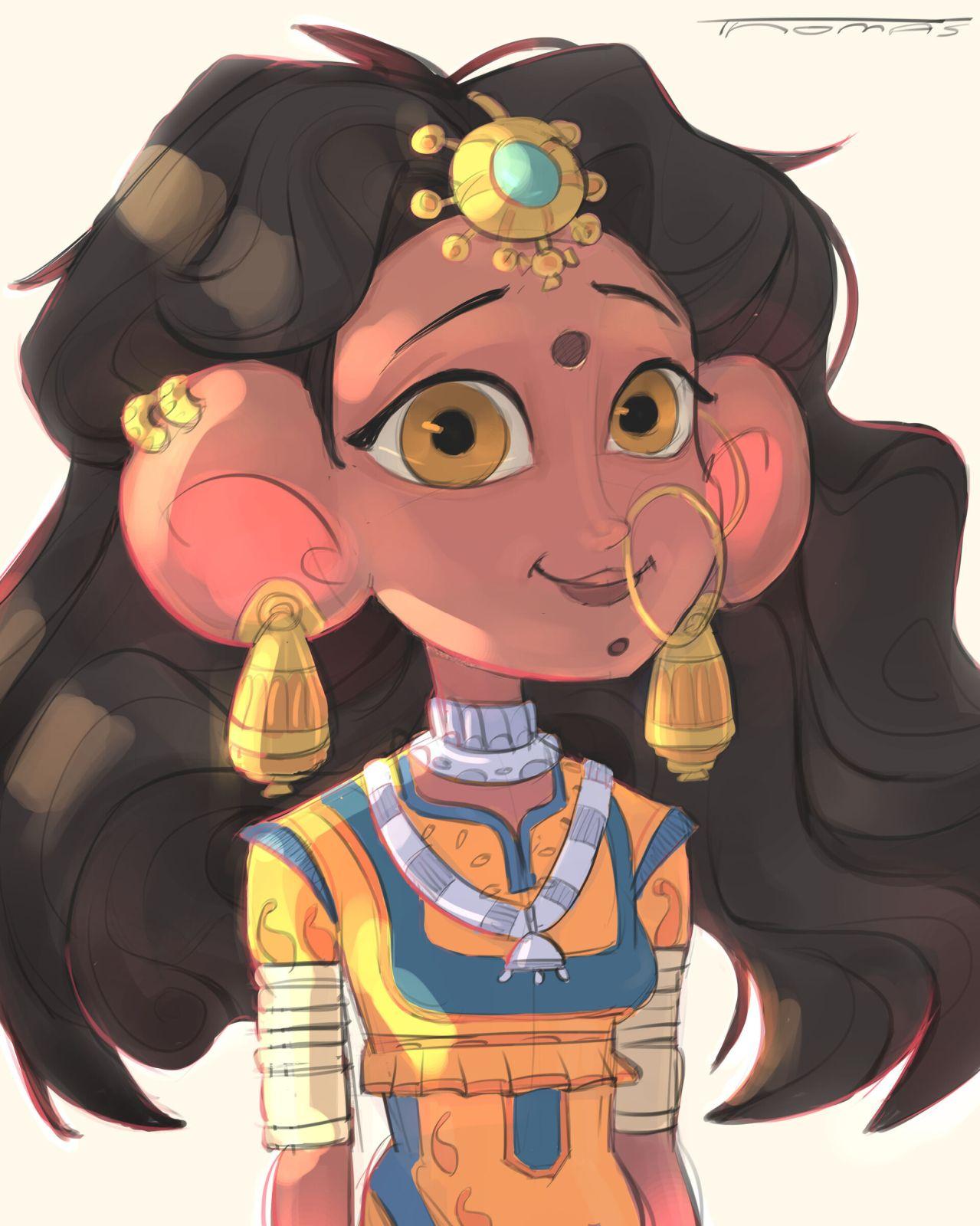 digital illustration rajasthani girl