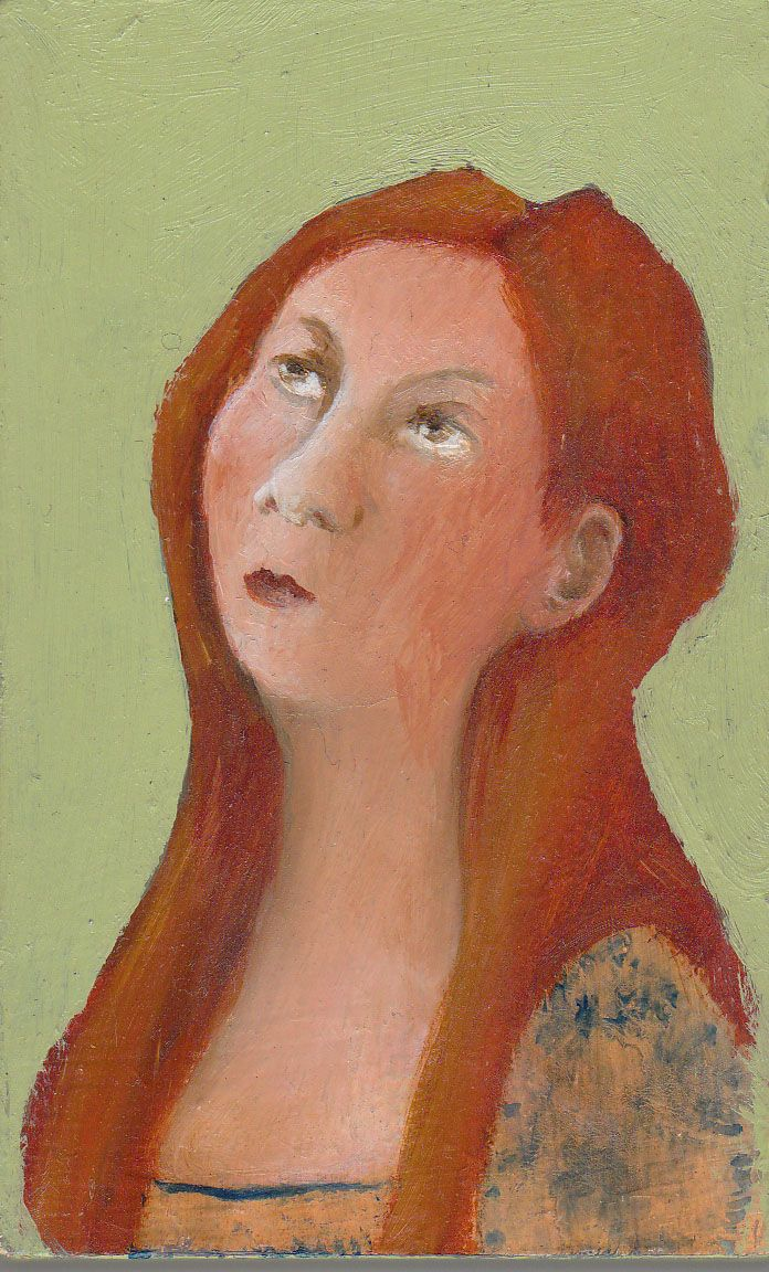 oil painting thinking woman by koos ten kate