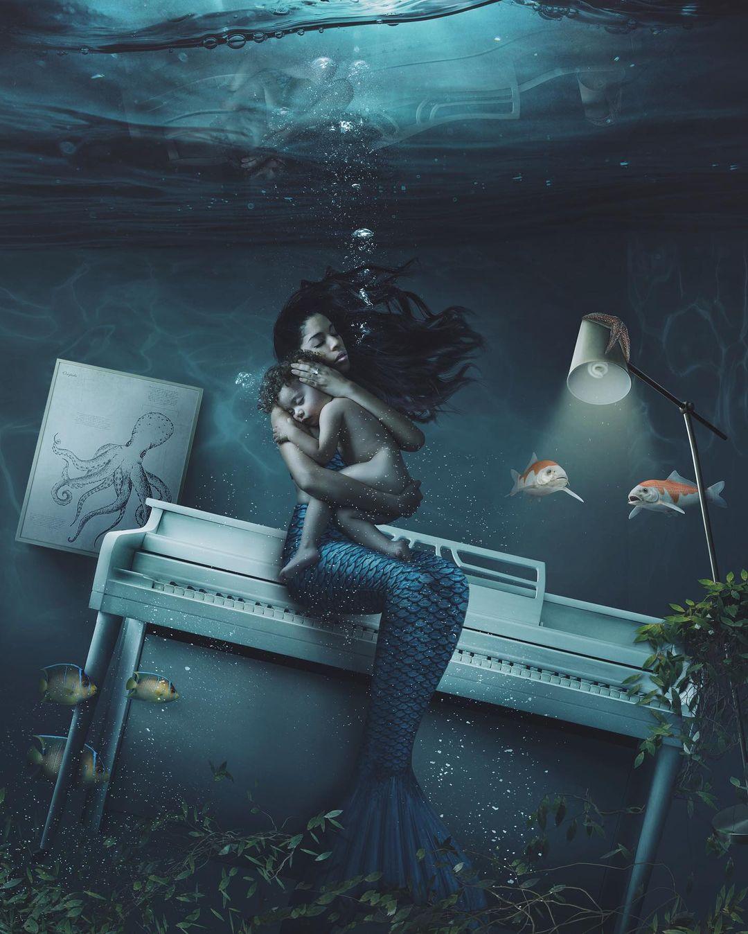 surreal photomanipulation mermaid kid by vanessa rivera
