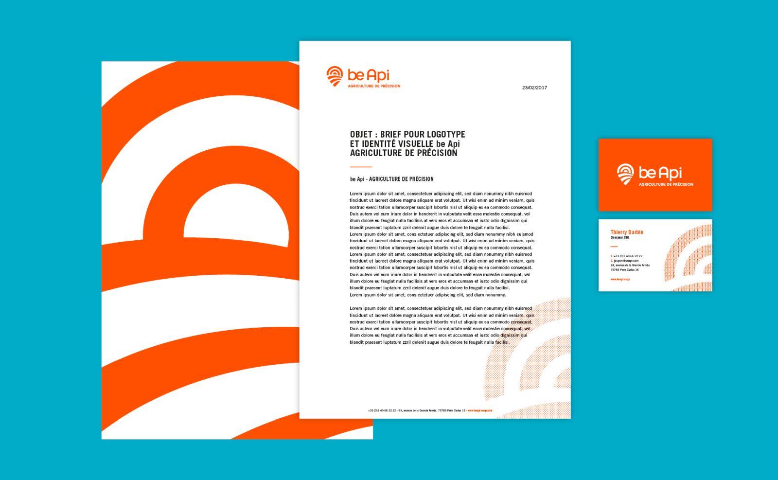 creative branding design of be api by grapheine