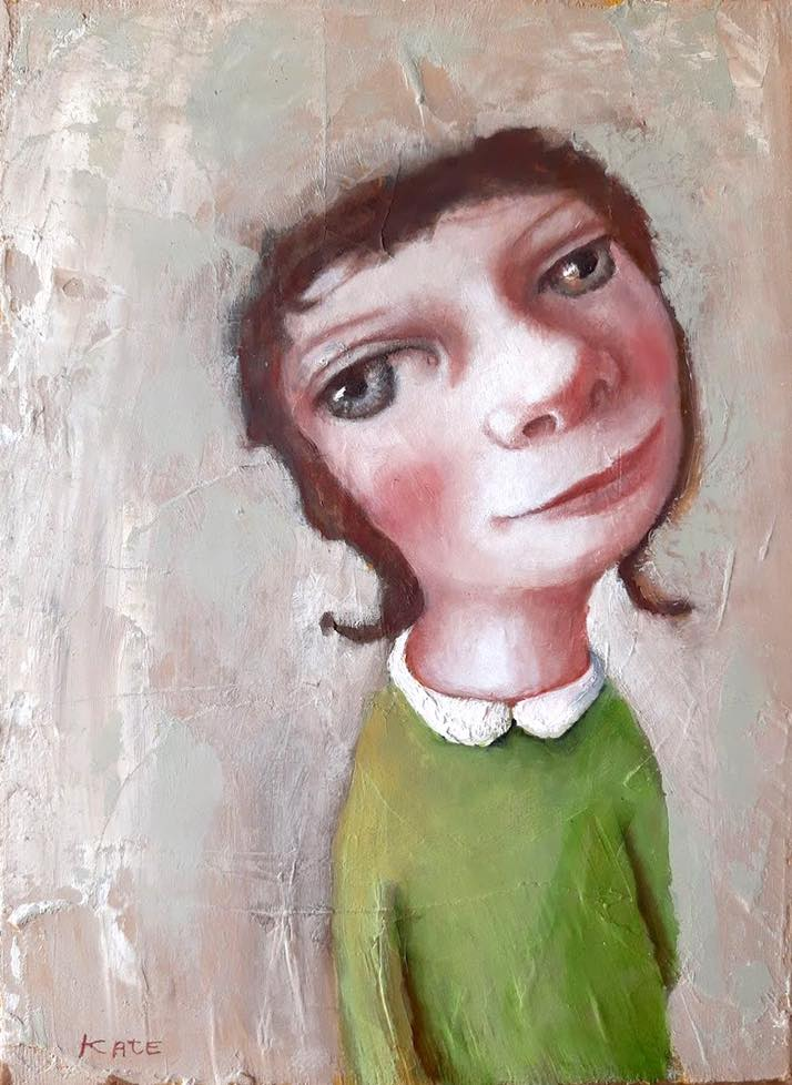 funny portrait oil painting pig tails by koos ten kate