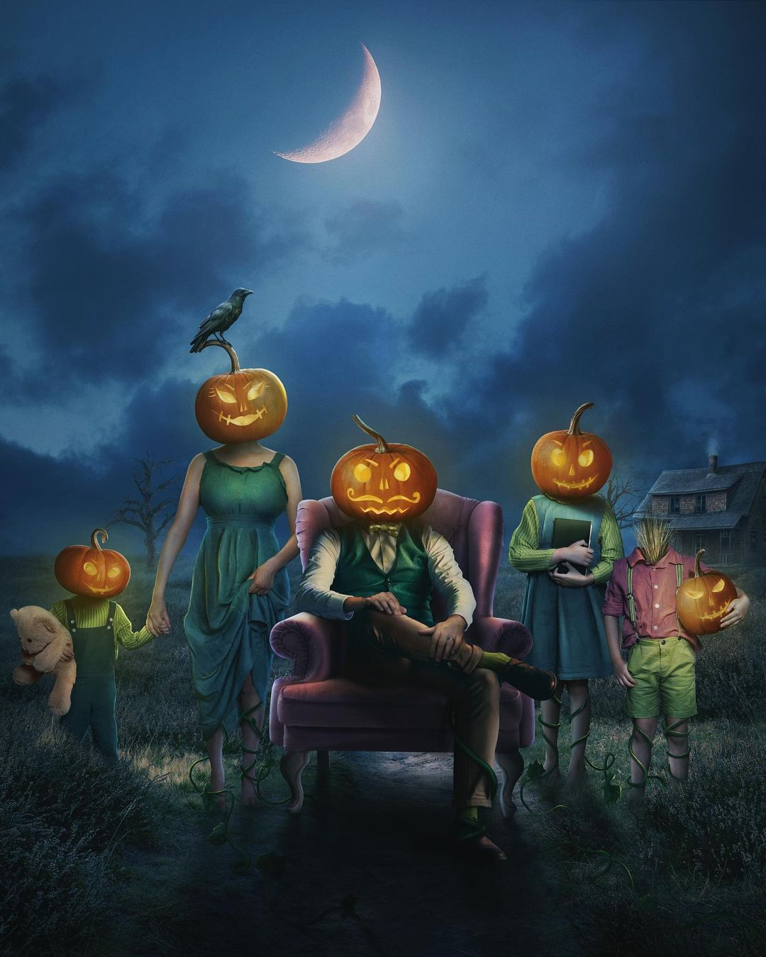 surreal photomanipulation pumpkin head by vanessa rivera