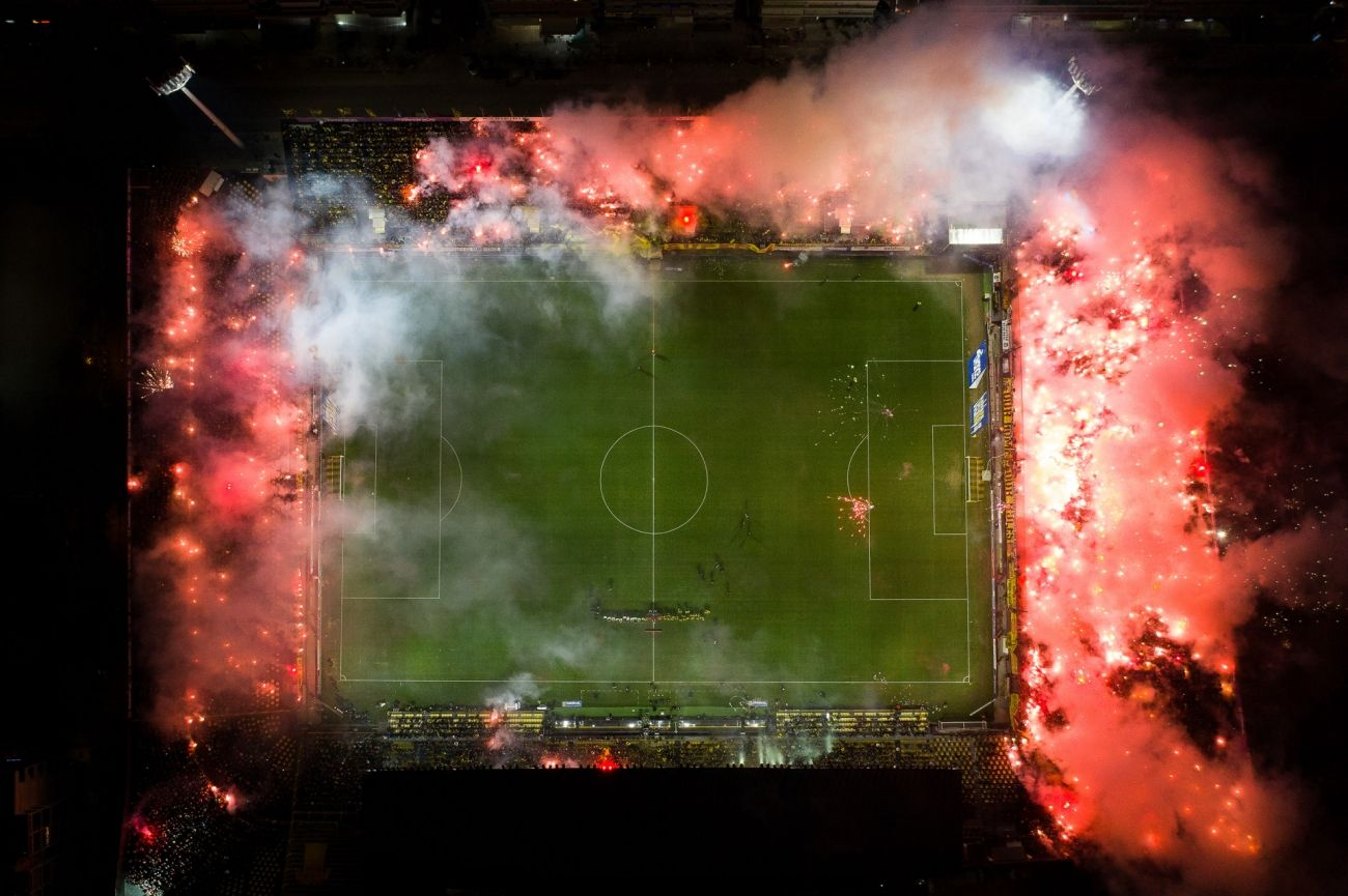 award winning aerial photography kleanthis vikelidis stadium in flames by dimitris
