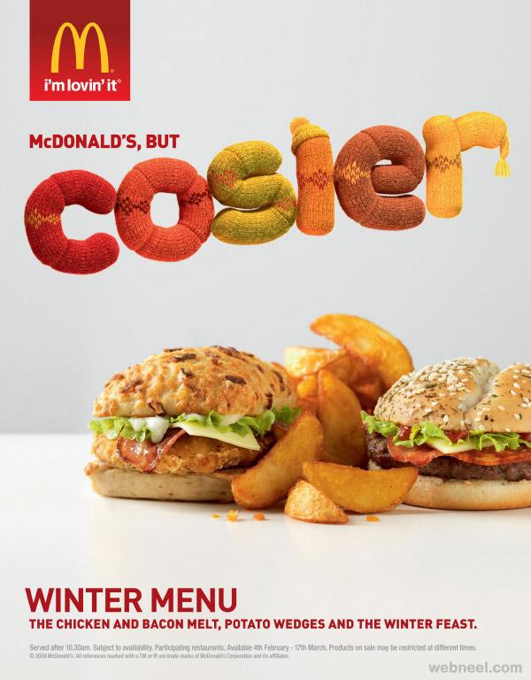 mcdonald ads 3d typogrpahy