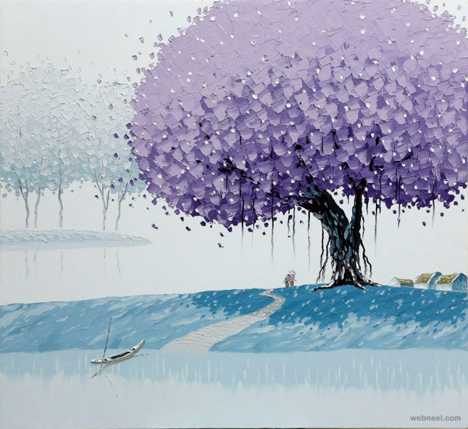winter painting by phan thu trang