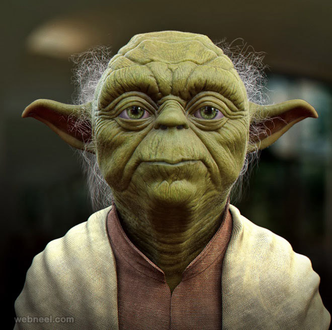 yoda 3d monster character