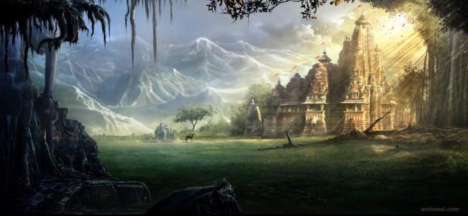 temple digital matte painting