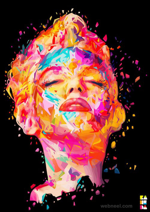 colorful marilyn monroe portrait by alessandro pautasso