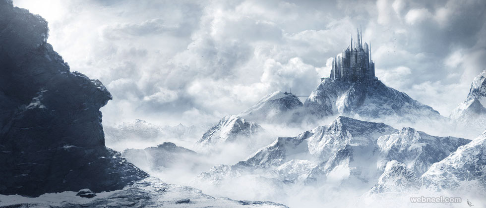 snow digital matte painting