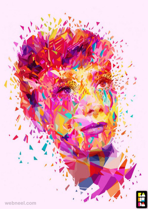 colorful audrey portrait by alessandro pautasso