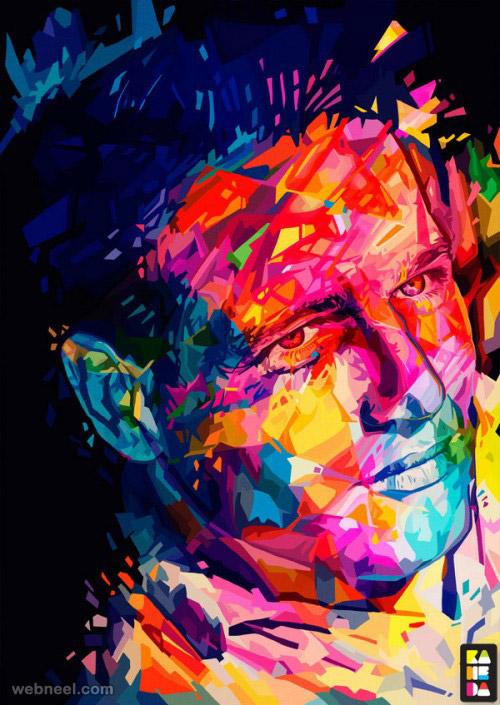 colorful paul newman portrait by alessandro pautasso