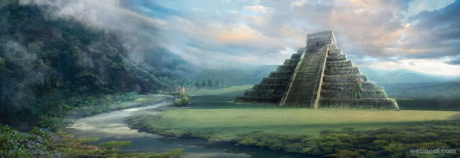 pyramid digital matte painting
