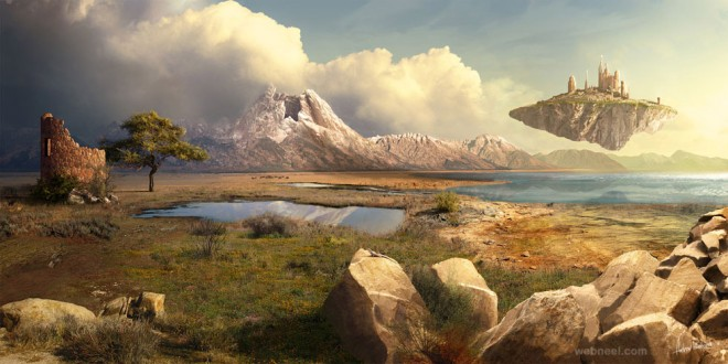 forest digital matte painting