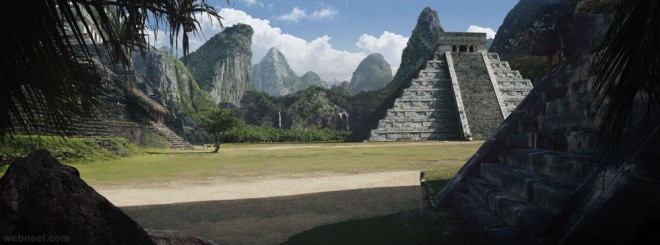 pyramid digital matte painting
