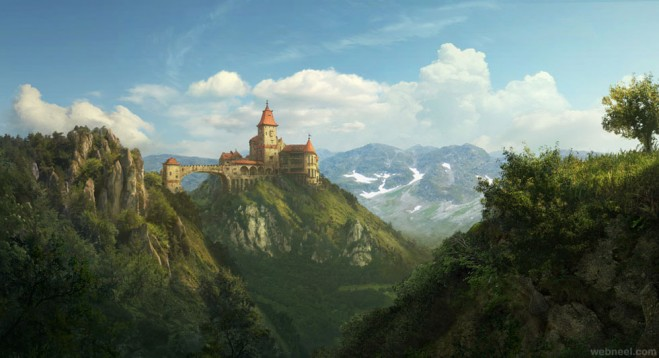 castle digital matte painting