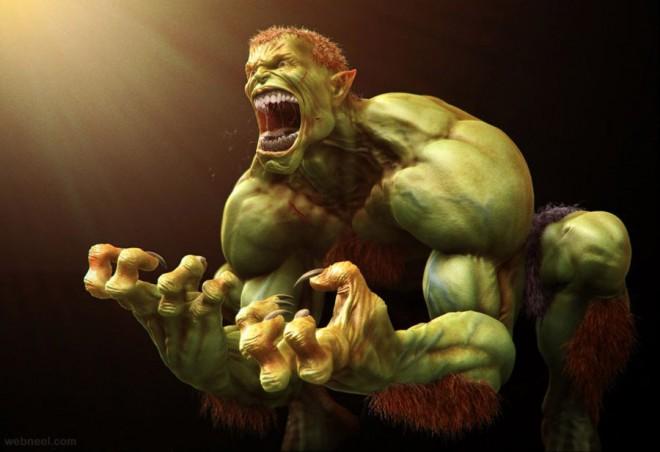 hulk 3d monster character