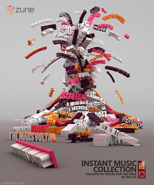 music 3d typogrpahy