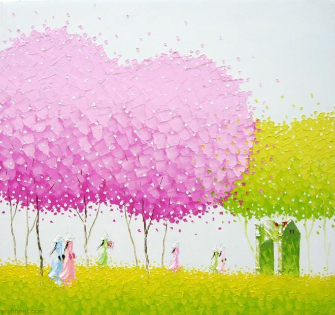 seasons palette knife painting phan thu trang