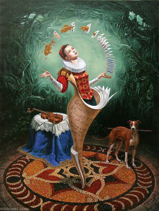 surreal painting by michael cheval