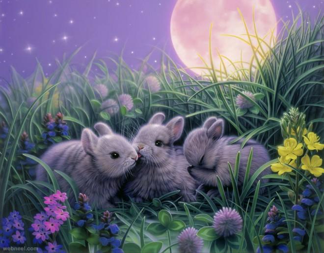 moon rabbit fantasy artwork