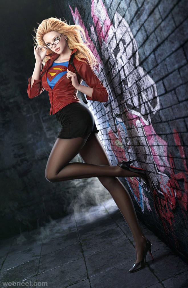 super girl 3d artwork by jungwon park