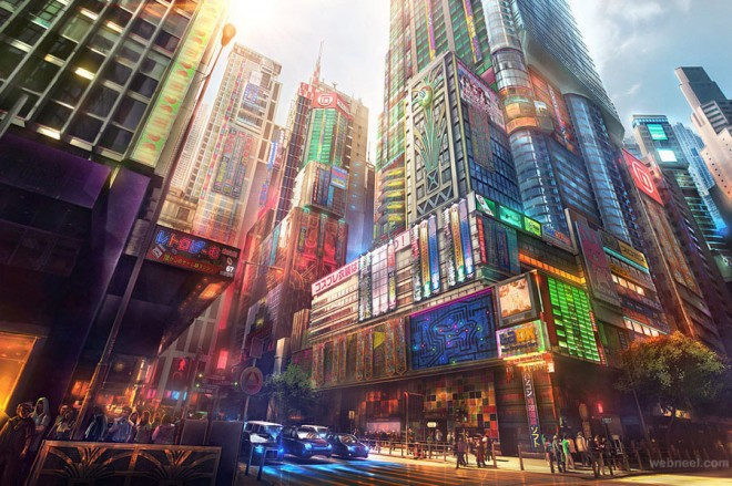 city digital matte painting