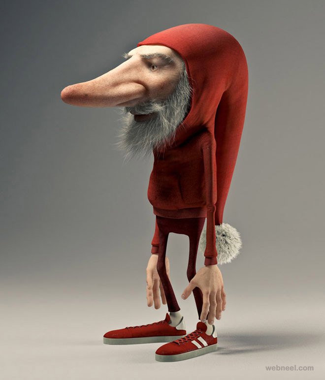funny santa 3d cartoon character Joel Bernt