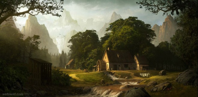 village digital matte painting