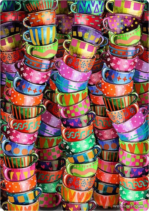 colorful cups painting