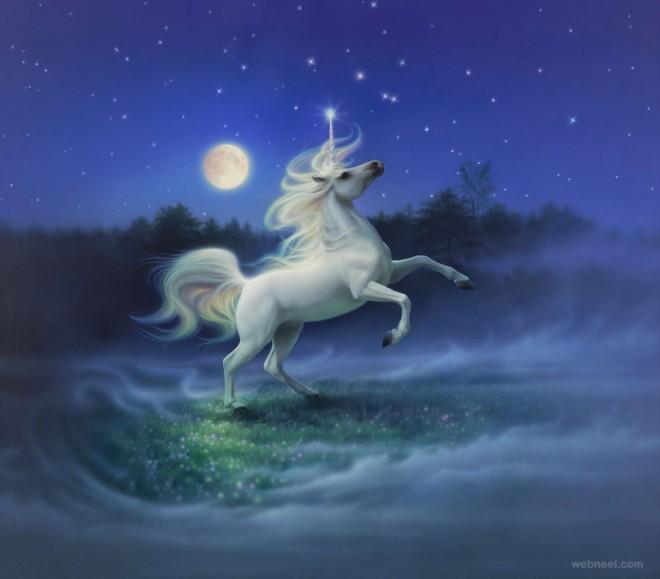 moon light unicorn fantasy artwork