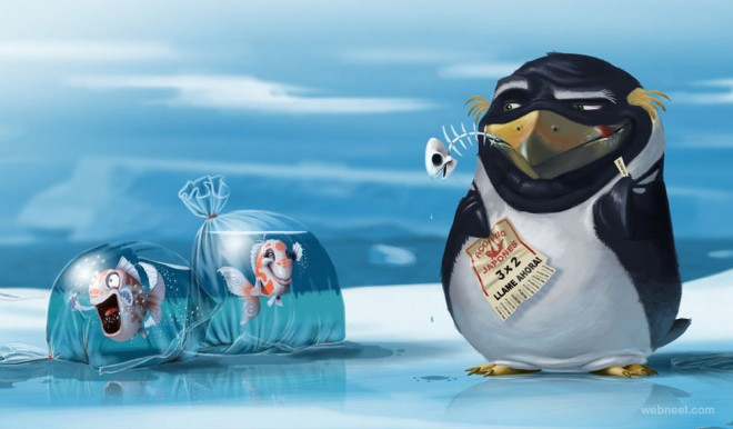 penguin digital art by salvador