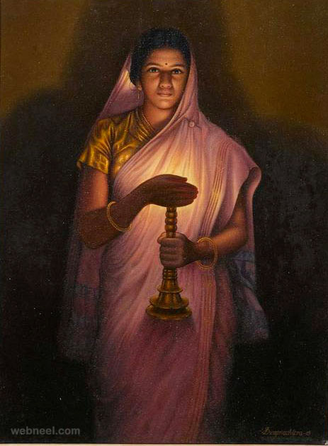 oil painting lady lamp by slhandakar